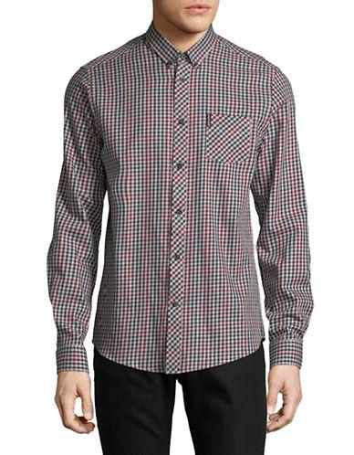 Ben Sherman Check Sport Shirt-PURPLE-Small