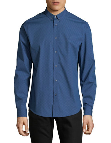 Ben Sherman Interlock Print Sport Shirt-BLUE-Medium