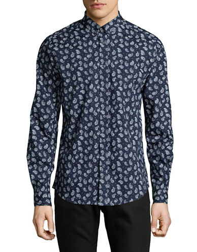Ben Sherman Paisley Dot Sport Shirt-BLUE-Medium