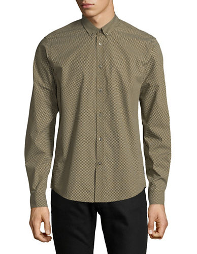 Ben Sherman Geo Dot Sport Shirt-GREEN-X-Large