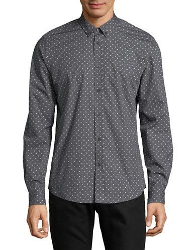 Ben Sherman Square Dot Sport Shirt-GREY-Medium