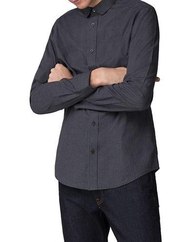 Ben Sherman Marl Micro Gingham Cotton Sport Shirt-GREY-Medium