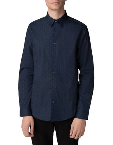 Ben Sherman Stretch Micro Dot Cotton Sport Shirt-BLUE-Large