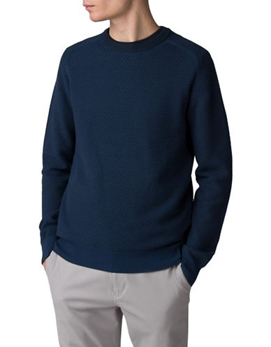 Ben Sherman Textured Crew Neck Cotton Sweater-BLUE-Small