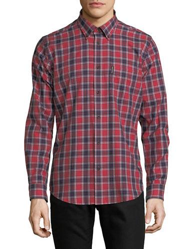 Ben Sherman Long Sleeve Marl Tartan Shirt-RED-Large