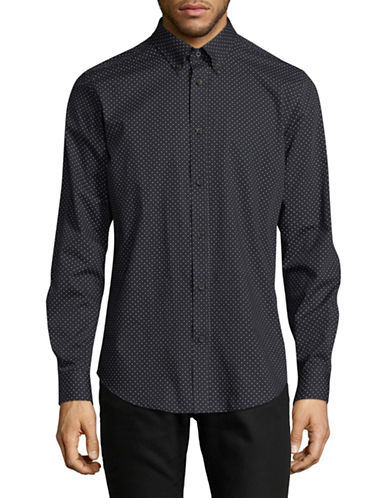 Ben Sherman Long Sleeve Marl Spotted Shirt-DARK BLUE-Small