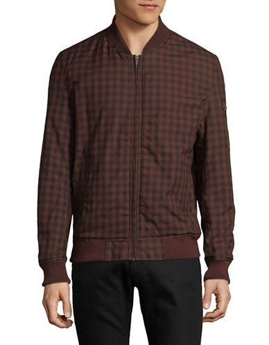 Ben Sherman Checkered Cotton Bomber Jacket-BROWN-X-Large 89795622_BROWN_X-Large