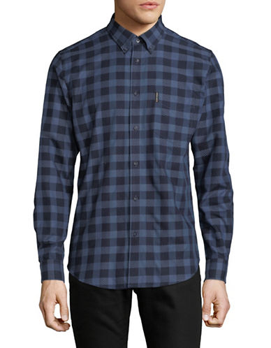Ben Sherman Long Sleeve Dobby Check Shirt-BLUE-X-Large
