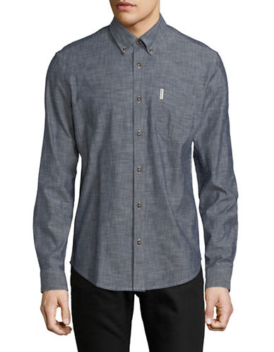 Ben Sherman Long Sleeve Chambray Shirt-DARK BLUE-Large