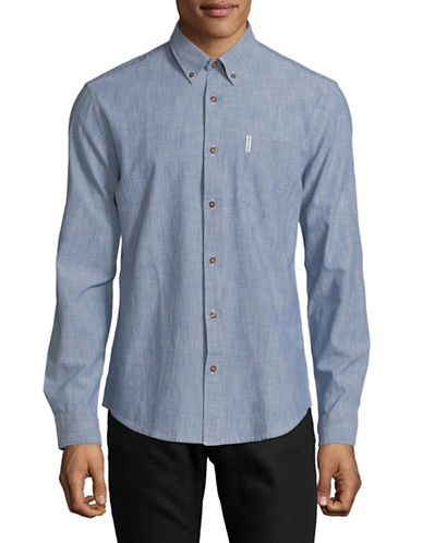 Ben Sherman Long Sleeve Chambray Shirt-MEDIUM BLUE-Small