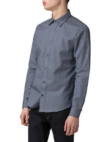 Ben Sherman Geometric-Print Sport Shirt-BLUE-Medium
