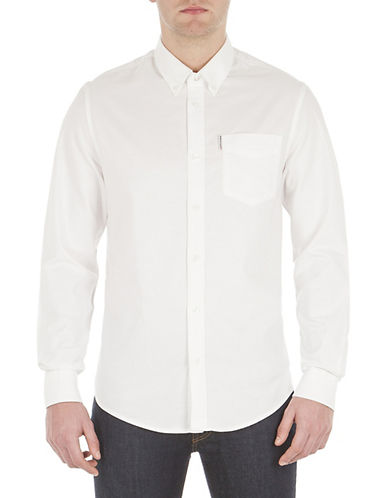 Ben Sherman Long Sleeve Core Oxford Shirt-WHITE-Medium