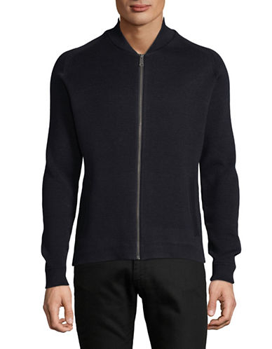 Ben Sherman Zip-Up Milano Bomber Cardigan-NAVY-Small