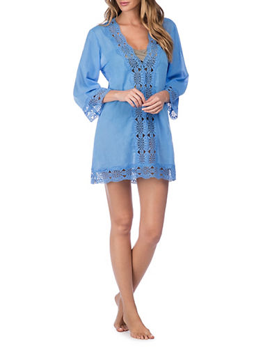 La Blanca Crochet V-Neck Cover-Up Tunic-BLUE-Small