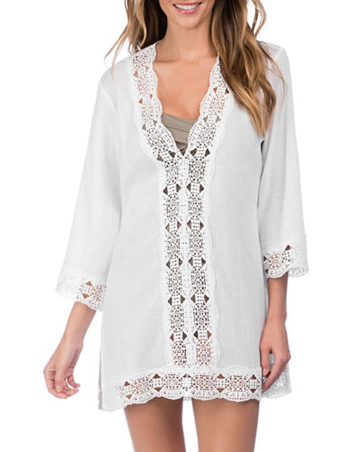 La Blanca Crochet V-Neck Cover-Up Tunic-WHITE-Medium