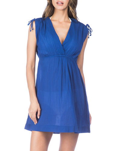 Lauren Ralph Lauren Crushed Cotton Farrah Dress-DEEP BLUE-X-Large