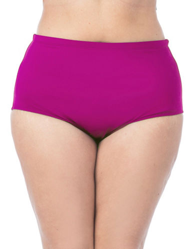 La Blanca Plus Solid High-Rise Swim Bottoms-MAGENTA-20W