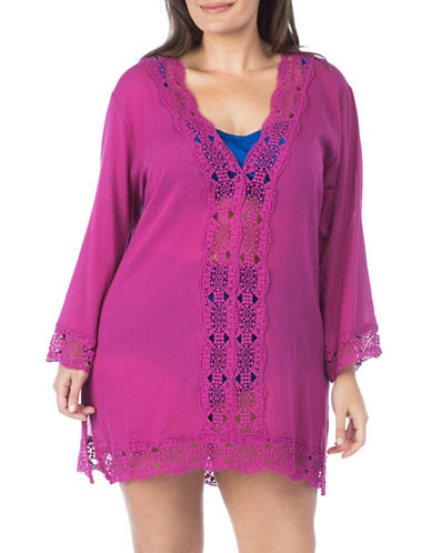 La Blanca Plus V-Neck Cover-Up Tunic-PINK-1X