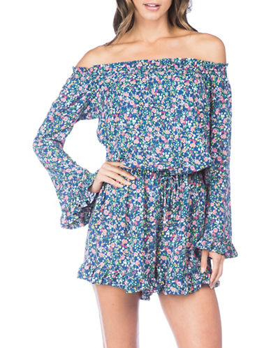 Polo Ralph Lauren Off-The-Shoulder Ruffle Romper-MULTI-Medium