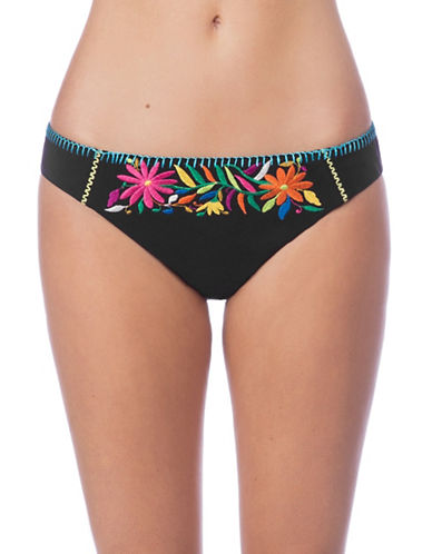 Nanette Lepore Isla Marietas Charmer Bikini Bottoms-BLACK-Medium