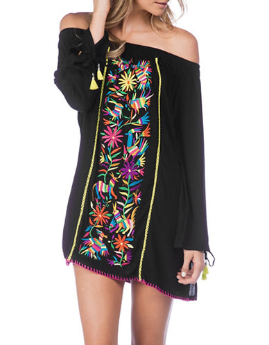 Nanette Lepore Isla Marietas Off-The-Shoulder Cover-Up Tunic-BLACK-Small