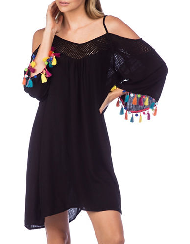 Nanette Lepore Cold-Shoulder Cover-Up Dress-BLACK-Small