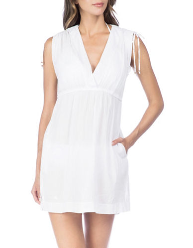 Lauren Ralph Lauren Crushed Cotton Farrah Dress-WHITE-Large