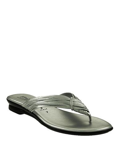 Italian Shoemakers Wishbone Thong Flip Flops-PEWTER-6