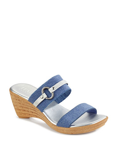 Italian Shoemakers Vivian Wedge Sandals-DENIM-7.5