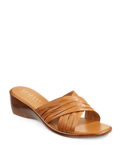 Italian Shoemakers Criss-Cross Slides-COGNAC-9