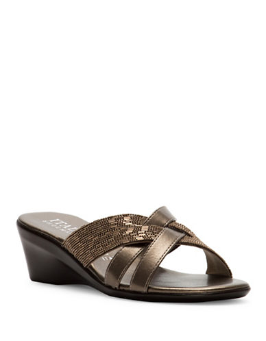 Italian Shoemakers Vix Jeweled Crossband Slide Sandals-BEIGE-10