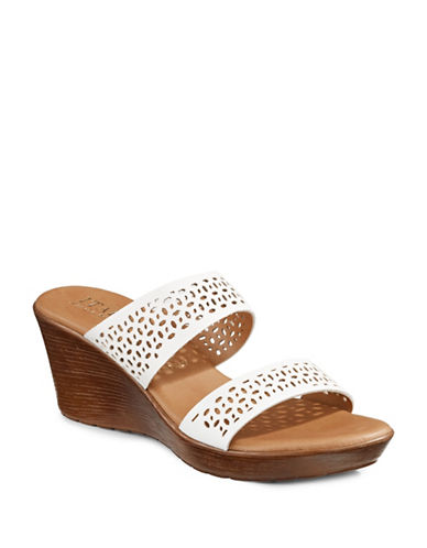 Italian Shoemakers Elite Two-Band Perforated Wedge Sandals-BEIGE-8