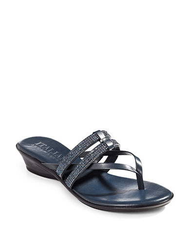 Italian Shoemakers Jewel Thong Slide Sandals-NAVY-8.5