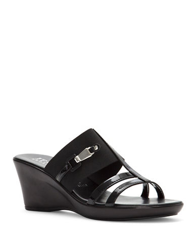 Italian Shoemakers Finesse Wedge Slide Sandals-BLACK-7.5