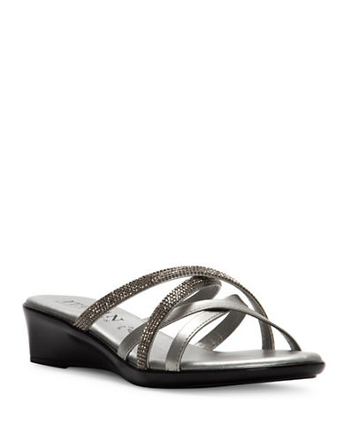 Italian Shoemakers Lexie Crystal Embellished Strappy Sandals-GREY-7.5