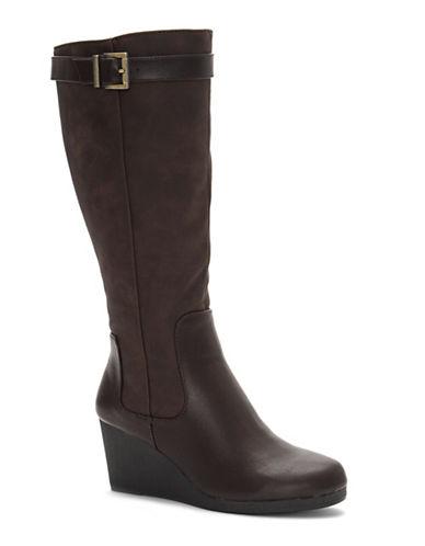 Lifestride Navia Knee-High Wedge Boots-DARK BROWN-8
