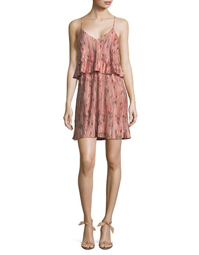 Design Lab Lord & Taylor Pleated Popover Mini Dress-PINK-Large