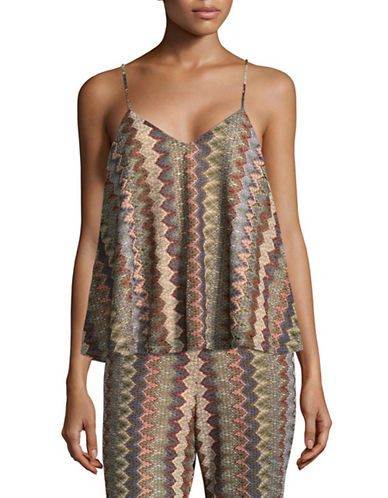 Design Lab Lord & Taylor Patterned Trapeze Camisole-BEIGE-Small