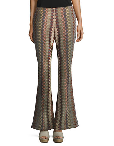 Design Lab Lord & Taylor Patterned Flare Pants-BEIGE-Large