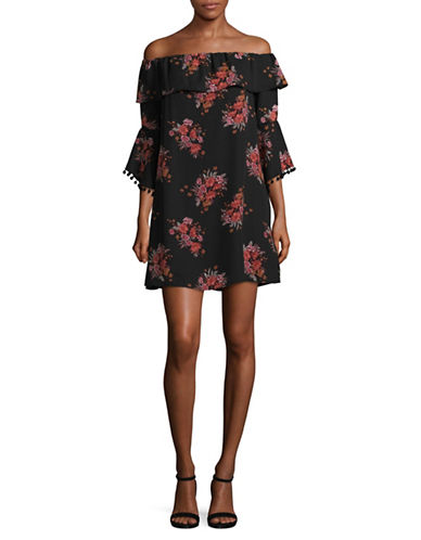 Design Lab Lord & Taylor Ruffle Bell Sleeve Pom-Pom Dress-GREY-Large
