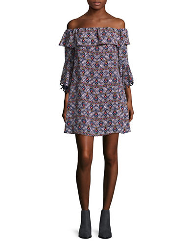 Design Lab Lord & Taylor Ruffle Bell Sleeve Pom-Pom Dress-BLUE-Small