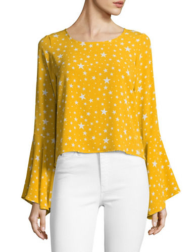 Design Lab Lord & Taylor Billowing Bell Sleeve Top-YELLOW-Small
