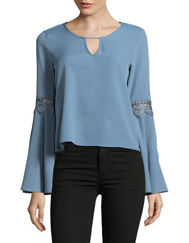 Design Lab Lord & Taylor Lace Insert Bell Sleeve Blouse-BLUE-X-Small