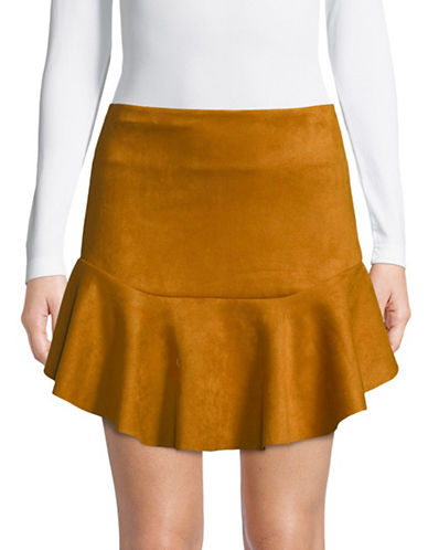 Design Lab Lord & Taylor Drop-Waist Suede Skirt-MUSTARD-Medium