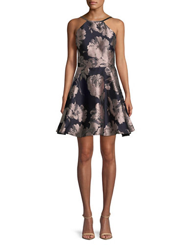 Xscape Sleeveless Floral Fit-and-Flare Dress-NAVY-4