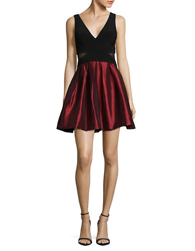 Xscape Short Flocked Party Dress-RED-12