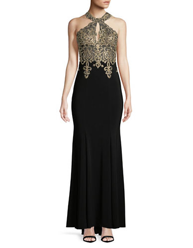 Xscape Halter Keyhole Beaded Gown-BLACK-6