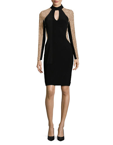 Xscape Caviar Beaded Bodycon Dress-BLACK-12