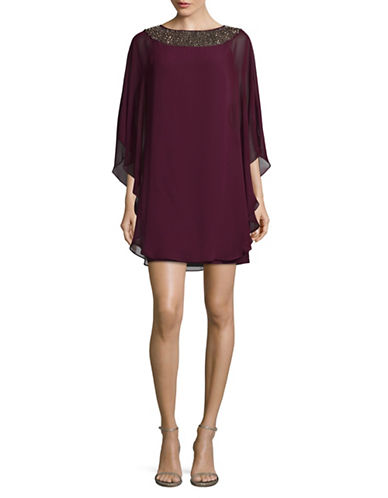 Xscape Embellished Chiffon Overlay Shift Dress-RED-8