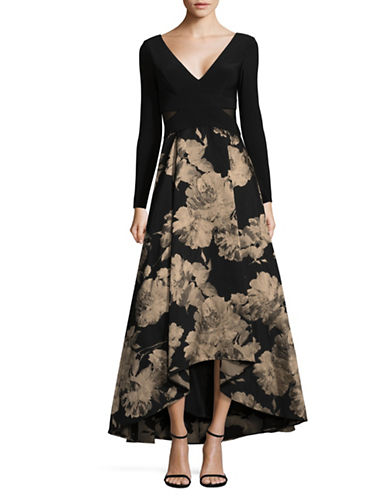 Xscape Brocade Hi-Lo Dress-BLACK-6
